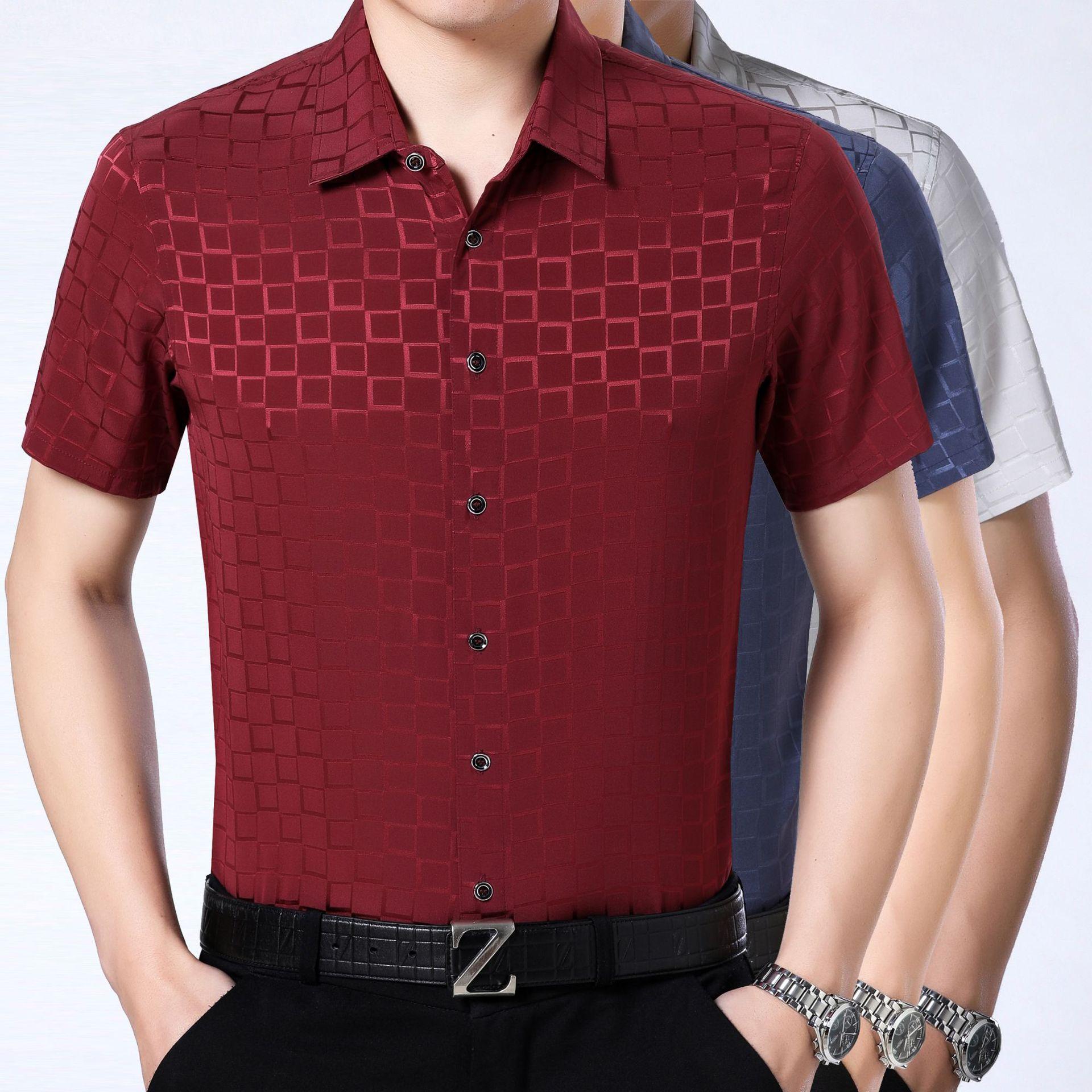 92% Silk Short Sleeved Shirt Men's Summer Thin Silk Silk Satin Shirt