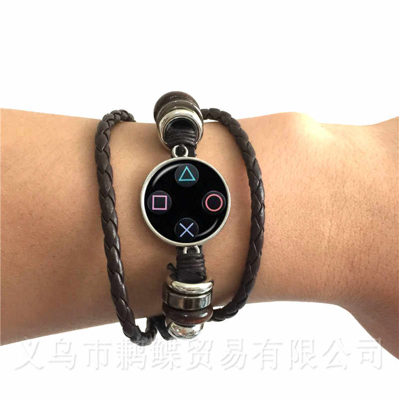 Vintage Video Game Controller Bracelet Cool Men Gaming Gamer Jewelry Gift Controller Gamepad Black/Brown Leather Bangle Gift