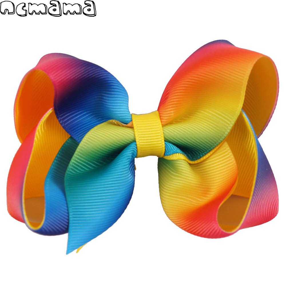 4.5 girls' rainbow hairbows