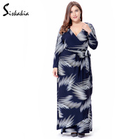 Siskakia Long Sleeve Maxi Long Dress Autumn 2017 V Neck Bow Bandage Waist Muslim Robes Plus