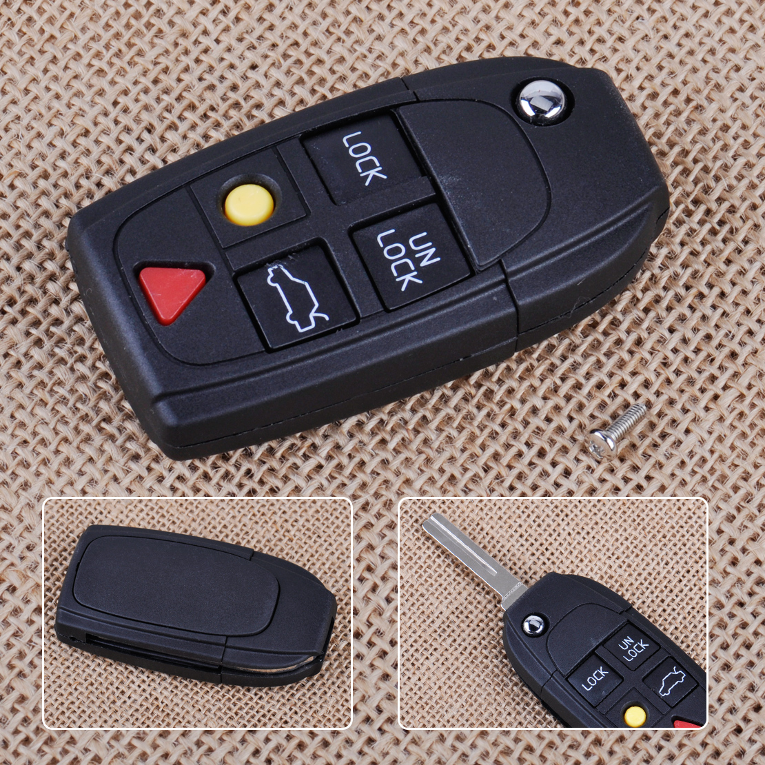 CITALL New 1pc 5 Button Flip Key Shell Folding Remote Case Fob for Volvo S60 S80 V70 XC70 <font><b>XC90</b></font> <font><b>2003</b></font> 2004 2005 2006 image