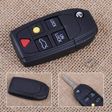 CITALL New 1pc 5 Button Flip Key Shell Folding Remote Case Fob for Volvo S60 S80 V70 XC70 XC90 2003 2004 2005 2006