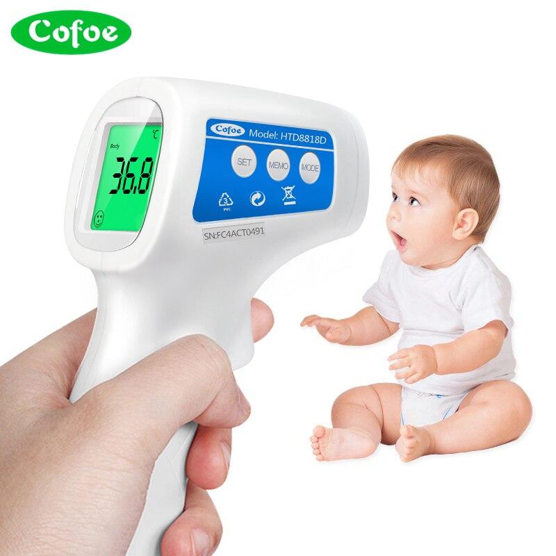 Cofoe Testa Corpo Febre Temperatura Medida Medidor Digital IR Termômetro Infravermelho Sem Contato Ferramenta Portátil para o Bebê Adulto