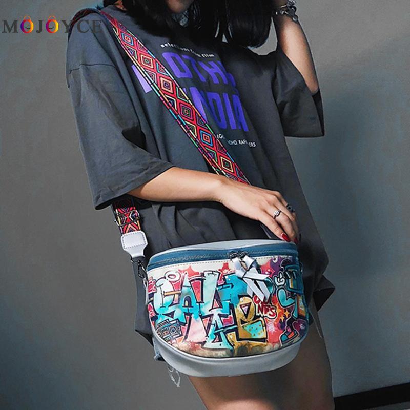 2018 Hip-hop Cartoon Street Style Graffiti PU Leather Messenger Bag Girl Female Travel Women Shoulder Bag Crossbody Handbag
