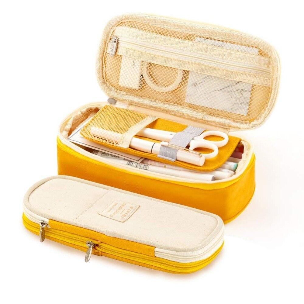 Kawaii lápiz caso Macaron de lona de Color elástico doble capa de gran capacidad caja de lápiz Linda abandonada la escuela de niños papelería