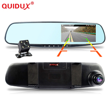 QUIDUX Car dvr dual lens mirror parking video recorder registrator dash cam full hd 1080p night vision car camera rearview