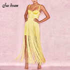 New Yellow Black Bandage Dress 2018 Sexy Celebrity Evening Party Dress Summer Women Tassels Fringe Dress Club Dresses Vestidos