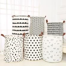 Wiadro do przechowywania składany kosz na pranie pościel bawełniana wodoodporna geometryczne czarno białe prześcieradła brudne na ubrania pudełko L0508 tanie tanio Kosze do przechowywania Zaopatrzony Rozmaitości Waterproof Canvas Sheets Laundry Clothes Laundry Basket Storage Basket