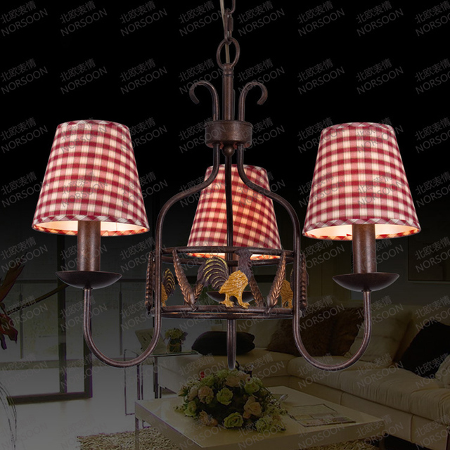 Free Shipping American Country Rooster Chandelier Three European Style  Garden Bedroom Ceiling Lighting Creative Restaurant
