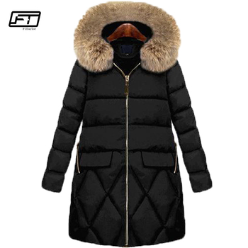 Fitaylor 2018 Cotton Padded Coat Female Winter Black Jacket Women Plus Size 5xl Fur Hooded Parka Mujer Thick Slim Long Overcoat