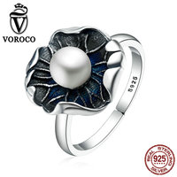 VOROCO Vintage 100 Genuine 925 Sterling Silver Lotus Leaf Pearl Finger Rings For Women Vintage Fine