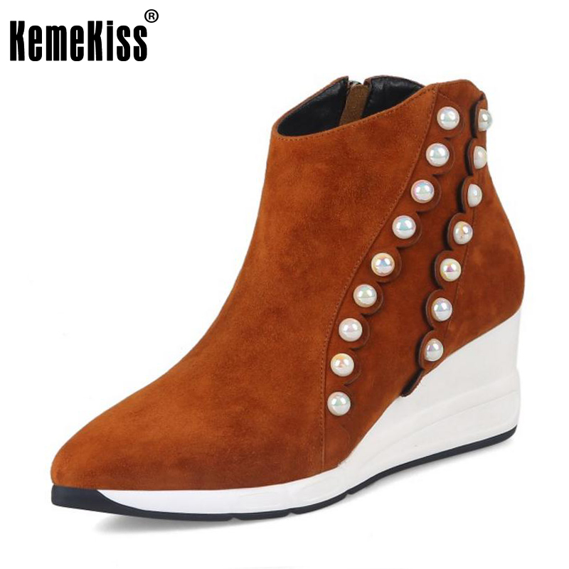 KemeKiss Women Real Leather Wedges Boots Zipper Beading Ankle Boots Warm Fur Shoes Autumn Winter Shoes Women Footwear Size 33-39 serene handmade winter warm socks boots fashion british style leather retro tooling ankle men shoes size38 44 snow male footwear