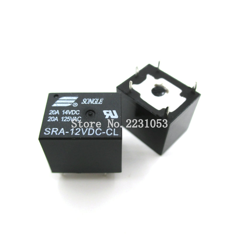 5PCS/LOT 12VDC 20A SRA-12VDC-CL 5Pins SRA 12V T74 Mini Power Relay Automotive Relay