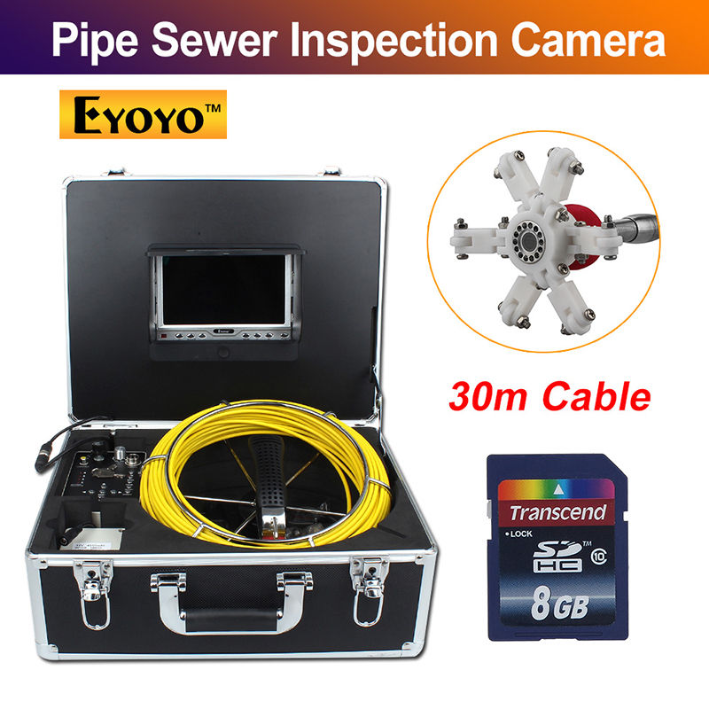 Eyoyo 30 M 98FT Esgoto Tubo de Drenagem de Inspeção Câmera de Vídeo À Prova D' Água de 120 Graus da câmera 4500 MAh Bateria inspekcyjna wodoodporna