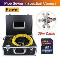 Eyoyo 30M 98FT Sewer Waterproof Video Camera 7LCD Screen 120 Degree Drain Pipe Inspection DVR 12 Led W/ 4500MAh Battery