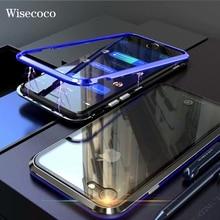Lüks manyetik adsorpsiyon kılıfı iphone 7 8 için Ultra mıknatıs Metal temizle temperli cam Magneto telefon kapak iPhone 7 için 8 artı