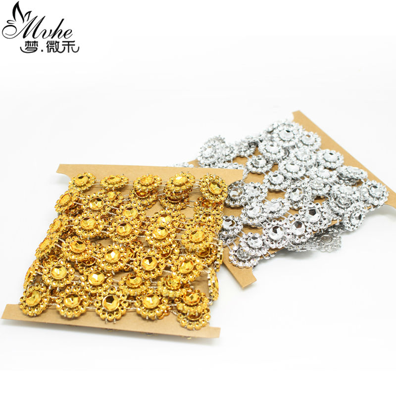 1.8m Sunflower Diamond Mesh single row Bling Crystal Ribbon Wrap Trim christmas decorations for home DIY Wedding cake decoration