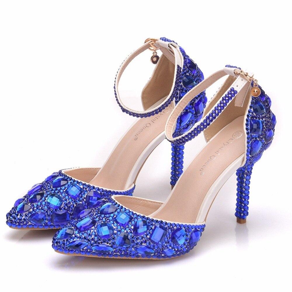 Escarpins Bleu Talons Bal Cristal Robe De Mariée 9 Sandales Hauts 5 Mariage Noël Pour Cm Parti Femmes Bleu ivoire Chaussures Strass Soirée 34R5jLqA