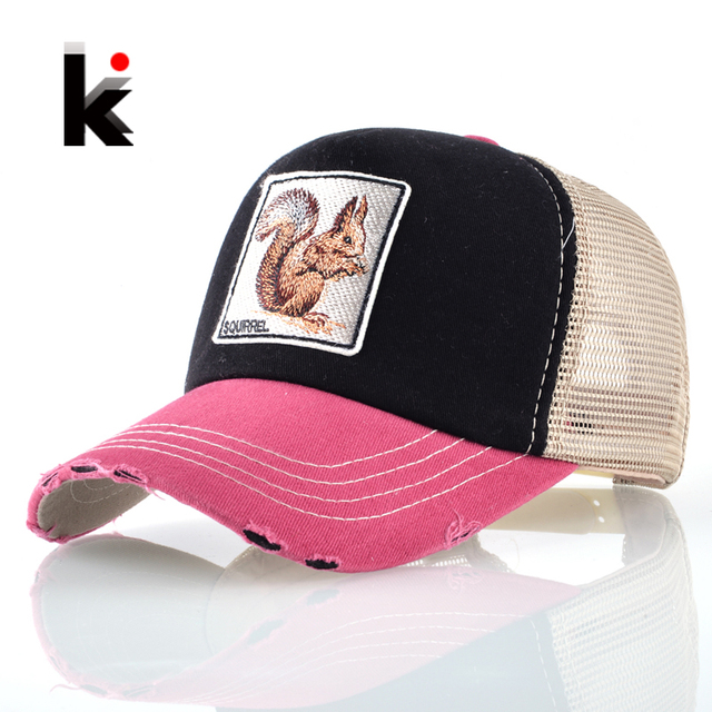 12488220478956 Summer Breathable Mesh Casquette Squirrel Embroidery Patch Baseball Caps  Men Women Snapback Drake Bone Masculino Trucker Cap