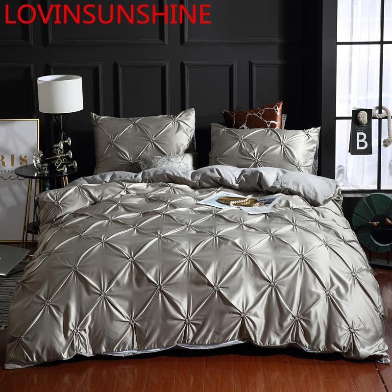 LOVINSUNSHINE Bed Linen Set Duvet Cover King Size Luxury Duvet Cover Bedding Set King Size Silk AC04#-in Bedding Sets from Home & Garden