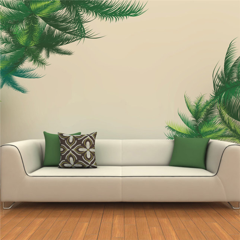 Green Palm Tree Wall Sticker Living Room Bedroom TV Background Decor Wall  Decal Art Home
