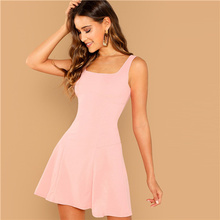 c692eb44893 SHEIN Pink Party Solid Fit And Flare Straps Neck Sleeveless Short Dress  Autumn Elegant Women Dresses