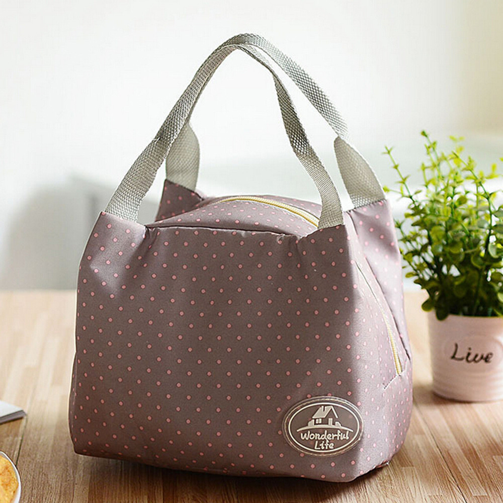 Insulated Cold Canvas Stripe Picnic Carry Case Thermal Portable Lunch Bag Picnic Bags for kids girl 2018