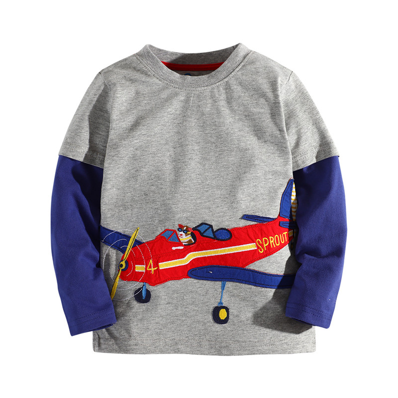 3-10 Years boys clothes new 2017 baby Tops & Tees fashion embroidery children clothes long sleeve Tshirts for kids boy ...