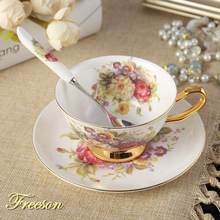 Пасторальный цветочный костяной фарфор чайная чашка блюдце ложка набор 200 мл кафе керамическая кофейная чашка элегантная Современная фарфоровая чайная чашка Прямая поставка