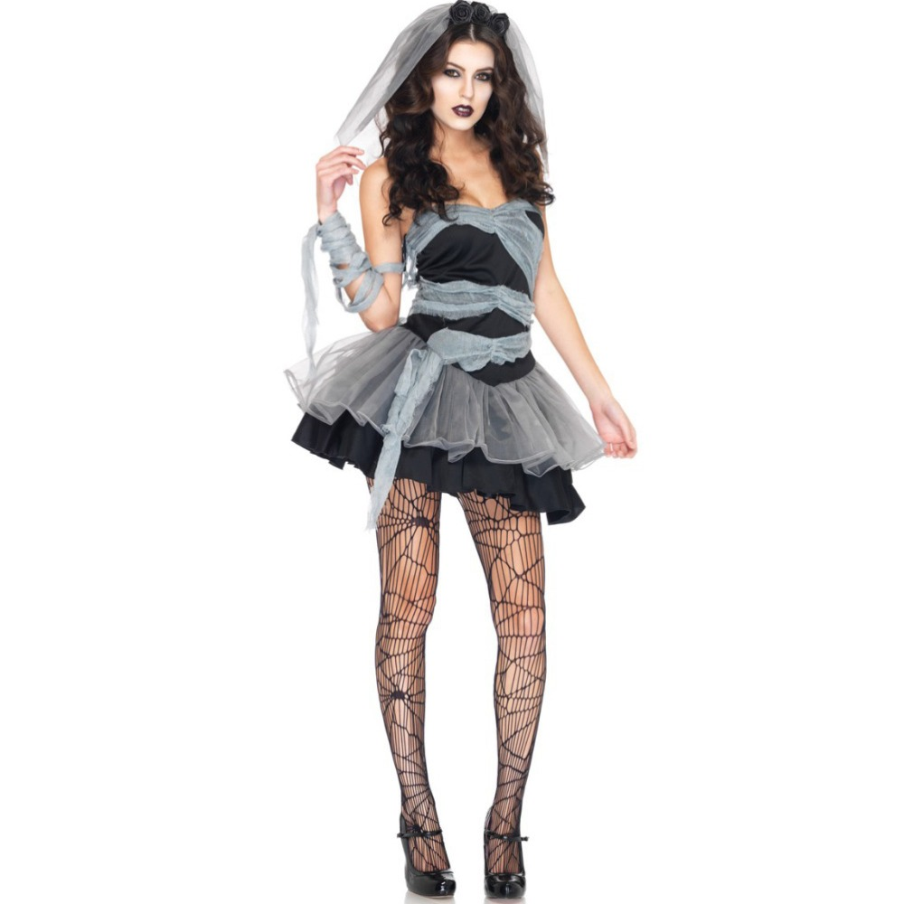 Ghost Bride Cosplay Costumes Vampire Zombie Witch Princess Mesh Dress and Head Wear Set Halloween Costumes for Women with Veil