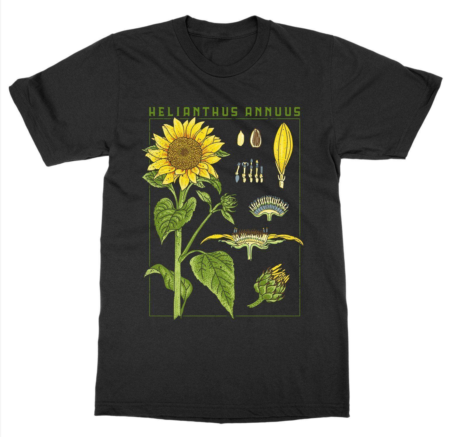 Fashion Brand Tops Male Tshirt Men Sunflower T Shirt Botanical Garden Plant Print Art Botany Bloom Fruit Flowerdesign T Shirt in T Shirts from Men s