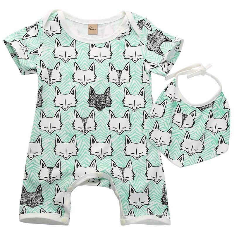 Infant Baby Clothes Cartoon Fox Cat Print 2Color   Romper   2pc Jumpsuit Bebe Kids Clothes