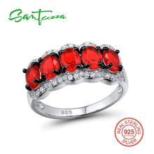 c84747eebc9fb Santuzza Anéis para Mulher Red Crystal Pedra Anel de Prata AAA Cubic  Zirconia Anéis de Prata Pura 925 Do Partido Moda Jóias