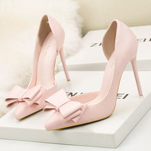 2019 Fashion Delicate Sweet Bowknot High Heel Shoes Side Hollow Pointed Women Shoes Woman Pumps Pointed Toe Zapatos De Mujer 2018 fashion delicate sweet bowknot high heel shoes side hollow pointed stiletto heels shoes women pumps
