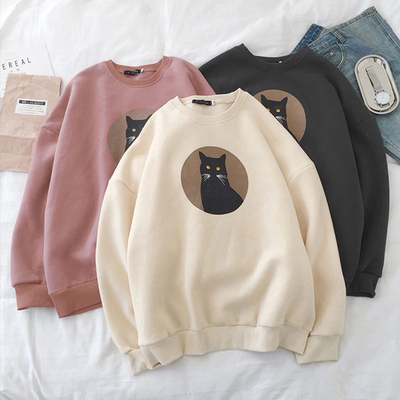 Sweatshirts Women's Ins Hatless Hood Autumn 2019 New Cat Head Harajuku Fashion Casual Loose Women's Sweatshirts Tops