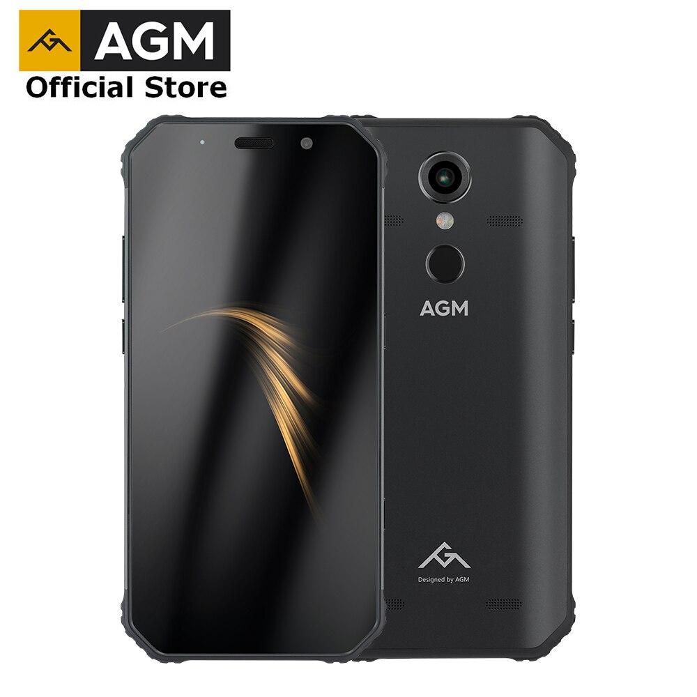 (Cadeau gratuit) OFFICIELLES AGM A9 5.99 4g + 64g Android 8.1 Smartphone 5400 mah Batterie IP68 Étanche Téléphone Quad -boîte Haut-parleurs NFC OTG