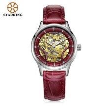 STARKING Mujeres Mecánico Automático Relojes de Cuero 50 m Impermeable Reloj de Pulsera de Oro Hueco Retro Reloj de Señoras De Lujo Papel AL0185