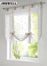 Cortina romana Europea bordado estilo tie up ventana cortina cortina de la cocina cortina escarpada voile tab top marca ventana cortinas