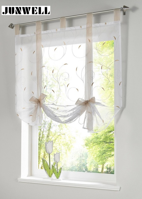Roman Shade European Embroidery Style Tie Up Window Curtain Kitchen Curtain  Voile Sheer Tab Top Window