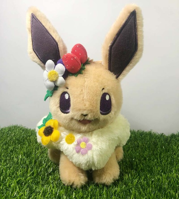 2019 Japan anime game Pikachu & Eievui's Easter Eevee with Flower Plush Doll Stuffed Toy Limited Plush Doll Toy | Dolls & Stuffed Toys