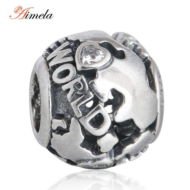 AIMELA 925 Sterling Silver Travel Around the World Charm Beads with AAA Cubic Zirconia For Women Fit Pan Bracelets DIY BD254