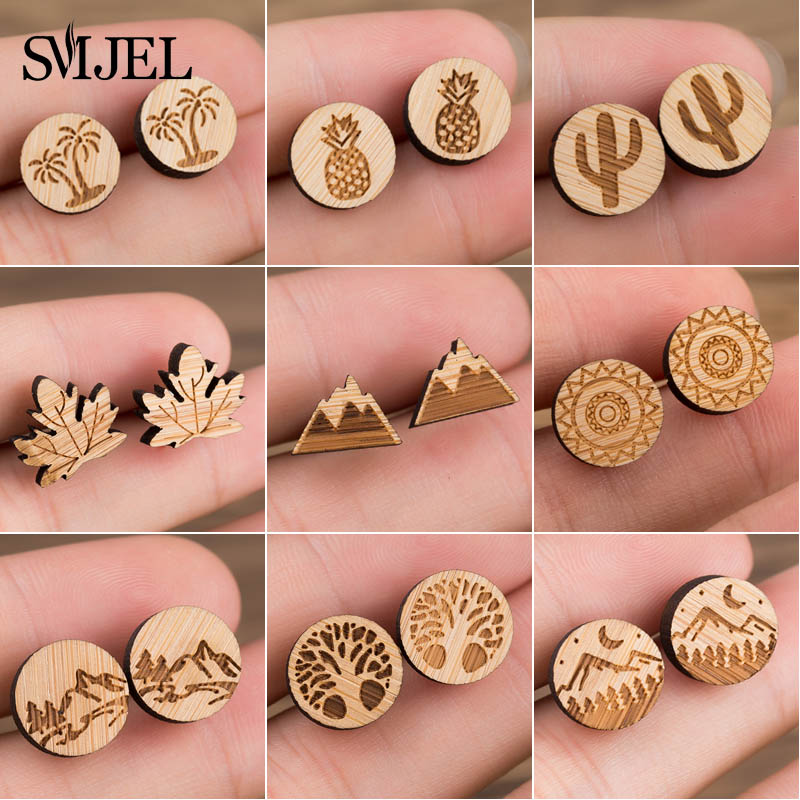 SMJEL Vintage Wood Tree Earrings For Women Fashion Features Natural Plant Stud Earrings Piercing Snow Mountain Jewelry Wholesale