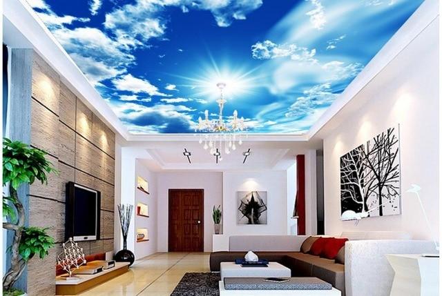 Non tissé papier peint bleu ciel et blanc nuages soleil plafond zénith maison décoration 3d papier