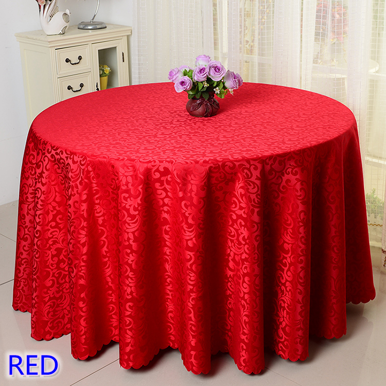 Red Colour Jacquard Table Cloth Damask Pattern Table Cover