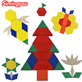 Simingyou Wooden Geometric Puzzle Colorful Wooden Toys Montessori Kids Toys Developmental Wooden Tangram Toys For Children WRB90