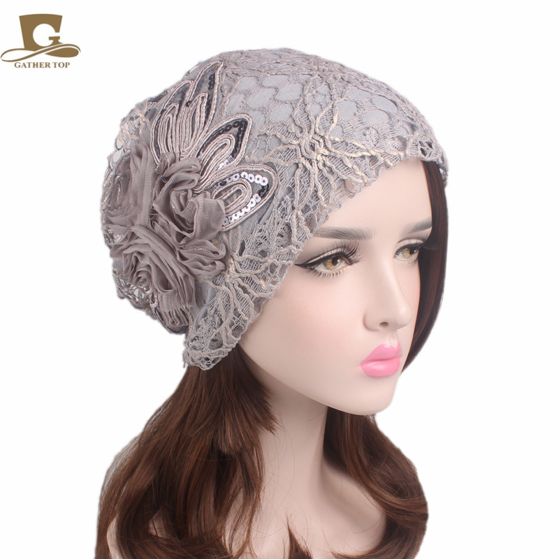 New Fashion Women Metallic Lace Flower Slouchy Baggy Head Cap Chemo Beanie Cancer Hat Ladies Turban new cotton slouchy wrinkle cap double flower floral beanie hats for cancer chemo patients