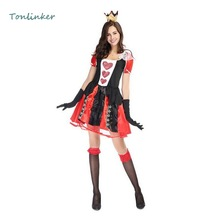 Halloween Costumes Adult Womens Poker Red Heart Queen Costume Dress Carnival Party Game Headwear+Skirt+Gloves