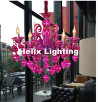 Modern 8L Colorful Chandelier Lamps For Coffee Shop Wedding Bar Blue Purple Red Yellow Glass Ball Lamp Modern LED Chandelier