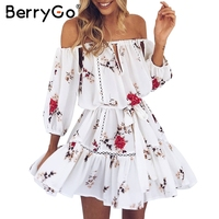 BerryGo Off Shoulder Hollow Out Summer Dress Women Casual Beach White Dress Loose Floral Print Pleated