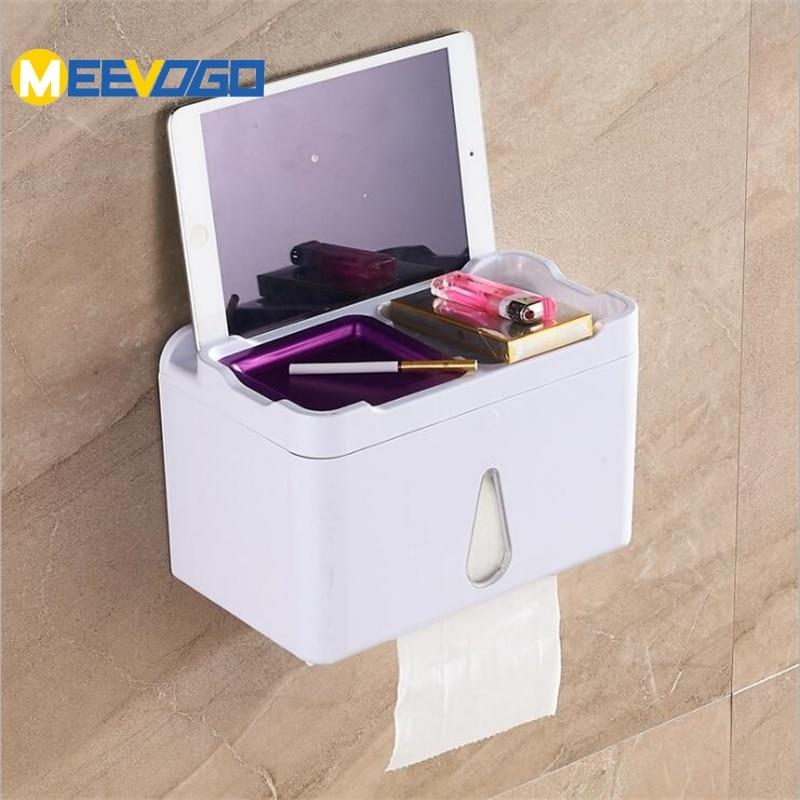 MEEVOGO Wall Mounted Bathroom Adhesive Tissue Dispenser ... on Wall Mounted Tissue Box Holder id=82806